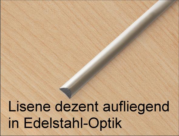 Lisene dezent aufliegend in Edelstahl-Optik