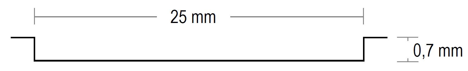 Prägung Breite 25 mm